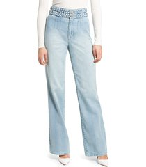 women's blanknyc the delancey braided high waist jeans, size 31 - blue