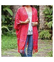 batik rayon kimono jacket, 'denpasar garden' (indonesia)