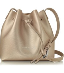 lancaster paris designer handbags, pur & element champagne saffiano leather mini bucket bag