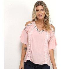 blusa pérola detalhe crochê feminina