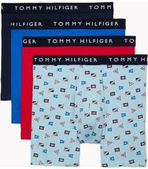 tommy hilfiger men's cotton stretch boxer brief 4pk nautical flag print on aquamarine/nautical blue/navy/barberry - xl