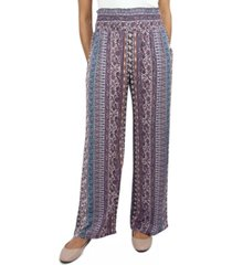 be bop juniors' smocked-waist wide-leg pants