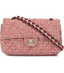 chanel pre-owned tweed double flap chain shoulder bag - red