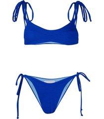 sian swimwear louise ribbed textured bikini - black