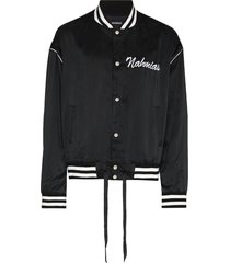 nahmias embroidered logo varsity jacket - black