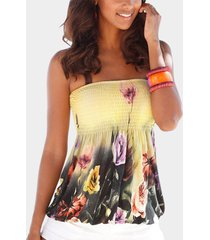 beige floral print shirred strapless pleated camis