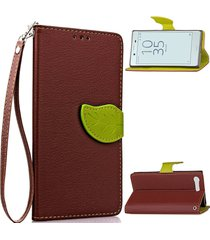 xperia x compact case,xyx brown leaf buckle leather wallet flip protective case