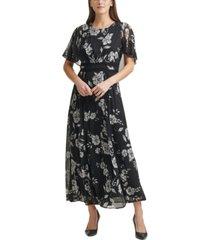 calvin klein rose floral chiffon maxi dress