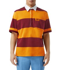 men's burberry stripe diamond quilted back pique polo, size large - orange