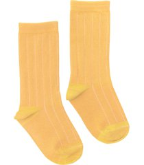 women's nico rib plant dyed organic cotton socks, size one size - orange