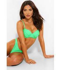 ruched cup underwire bikini top, green