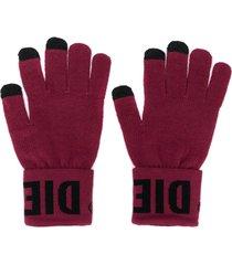 diesel logo cuff gloves - pink