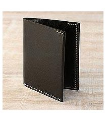 men's leather card holder wallet, 'dauntless black' (india)