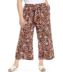 plus size women's halogen belted crop wide leg pants, size 1x - brown