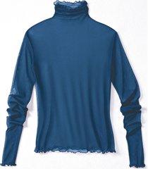 shirt met lange mouwen uit biologische zijde, nachtblauw 36/38