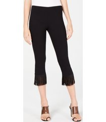 inc fringe-trim cropped skinny pants, created for macy's