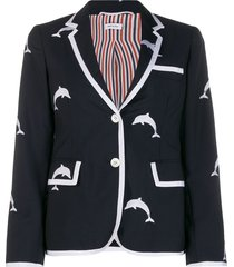 thom browne dolphin embroidery classic sport coat - blue