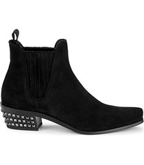 studded suede pull-on booties