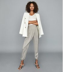 reiss rosalie - wrap-front trousers in grey, womens, size 14