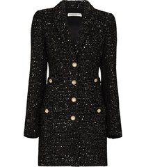 sequin tweed v neck mini dress