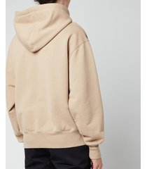 ami men's oversized de coeur logo hoodie - beige - l