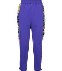 yoshiokubo side-fringe track pants - purple