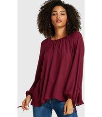 yoins blusa burdeos diseño redonda cuello blusa de manga larga