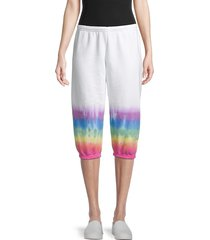 hard tail women's printed cotton-blend capri pants - rainbow - size l