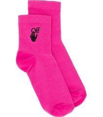 off-white new logo socks - pink