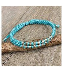 silver accent wristband bracelet, 'blue infinity twins' (thailand)