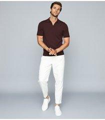 reiss duchie - merino wool open collar polo shirt in bordeaux, mens, size xxl