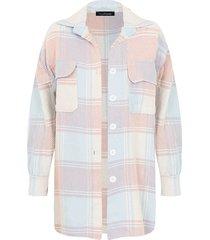 oversized blouse geblokt roze