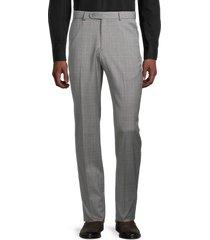 saks fifth avenue men's plaid wool pants - grey - size 33