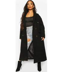 petite wool look double breasted long line coat, black
