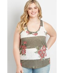 maurices plus size womens 24/7 floral stripe knot back tank top white