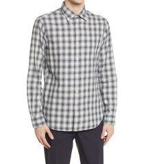 men's officine generale giacomo check long sleeve button-up shirt, size x-large - grey
