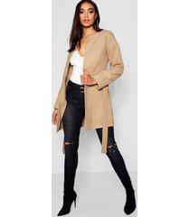 collarless belted wool look coat, camel