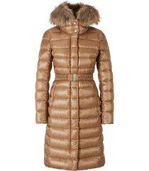 fur hooded padded coat