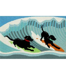 "liora manne front porch indoor/outdoor surfing dogs ocean 2'6"" x 4' area rug"