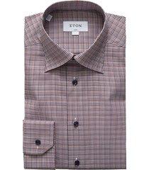 eton men's slim-fit plaid dress shirt - blue multi - size 17.5
