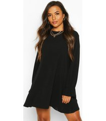 petite soft rib swing dress, black