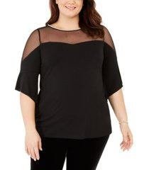 belldini black label women's plus size dotted mesh sweetheart neck tunic