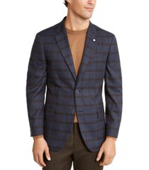 nautica men's modern-fit active stretch medium blue/brown windowpane sport coat