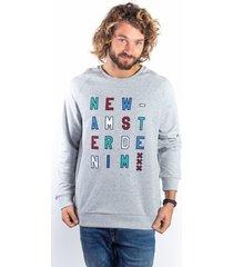 sweater amsterdenim - sweatshirt - adelbert - grey melange