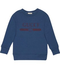 gucci blue sweatshirt with frontal logo