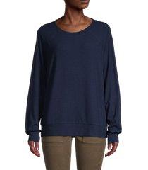 saks fifth avenue women's raglan-sleeve sweatshirt - deep navy - size l