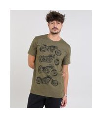 camiseta masculina motos manga curta gola careca verde militar