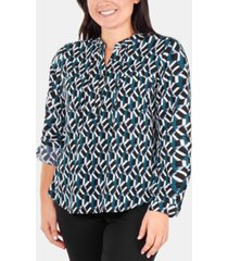 ny collection plus size printed band-collar shirt