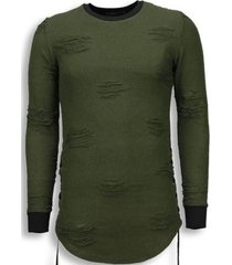 sweater justing destroyed look trui - side laces long fit sweater -