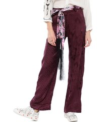 pantalón desigual morado - calce holgado